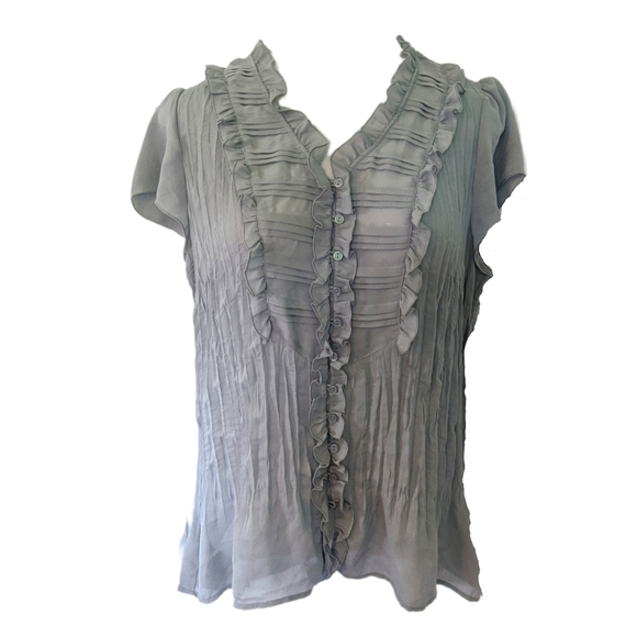 NY Collection Gray Pleated Sheer Ruffle Top XL